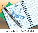 weekend plan drawing in... | Shutterstock .eps vector #668152981