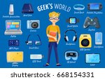 character geek nerd set of... | Shutterstock .eps vector #668154331