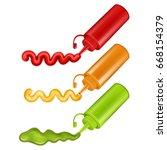 set of colorful plastic bottles ... | Shutterstock .eps vector #668154379