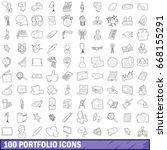 100 portfolio icons set in... | Shutterstock .eps vector #668155291