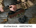 hunting equipment. tape with... | Shutterstock . vector #668156761