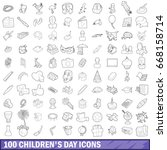 100 children day icons set in... | Shutterstock .eps vector #668158714