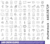 100 crew icons set in outline... | Shutterstock .eps vector #668158729