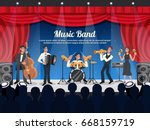 cartoon colored musician... | Shutterstock .eps vector #668159719