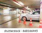 abstract blur in parking car... | Shutterstock . vector #668166445