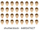 emotions set. man wearing... | Shutterstock .eps vector #668167627