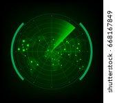 radar scan the world map for...   Shutterstock .eps vector #668167849