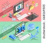 graphic 3d design and various... | Shutterstock .eps vector #668169505