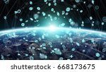 global network and datas... | Shutterstock . vector #668173675