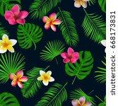 seamless hand drawn tropical... | Shutterstock .eps vector #668173831