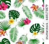 seamless hand drawn tropical... | Shutterstock .eps vector #668173879