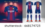 set of soccer kit or football... | Shutterstock .eps vector #668174725