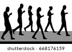 silhouettes of people walking... | Shutterstock .eps vector #668176159