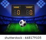crowed of fan in football... | Shutterstock .eps vector #668179105