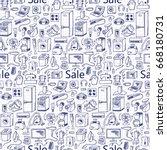 sale household appliances hand... | Shutterstock .eps vector #668180731