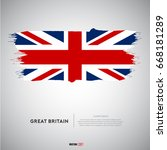 great britain flag with  brush... | Shutterstock .eps vector #668181289