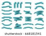 ribbon banner set.vector... | Shutterstock .eps vector #668181541