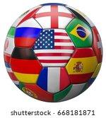usa soccer football with world... | Shutterstock . vector #668181871