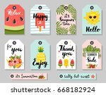 summer sale and gift tags with... | Shutterstock .eps vector #668182924