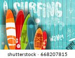 surfing poster in vintage style ... | Shutterstock .eps vector #668207815