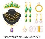 traditional golden jewellery... | Shutterstock .eps vector #668209774