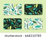 cute cards set with rustic hand ... | Shutterstock .eps vector #668210785