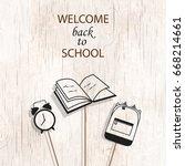 welcome back to school concept ... | Shutterstock .eps vector #668214661