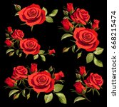 illustration with red roses on...   Shutterstock .eps vector #668215474