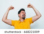 joyful  a very happy man | Shutterstock . vector #668221009