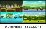 vector landscape cartoon...