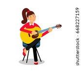 teenage girl playing an... | Shutterstock .eps vector #668227159