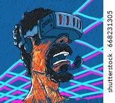 helmet of virtual reality... | Shutterstock .eps vector #668231305