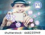 man taking photo and uploading... | Shutterstock . vector #668235949