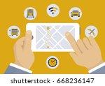 navigation direction mobile... | Shutterstock .eps vector #668236147