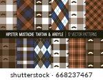 hipster mustache tartan plaid... | Shutterstock .eps vector #668237467