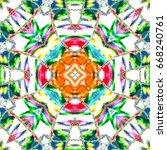 colorful kaleidoscopic pattern... | Shutterstock . vector #668240761