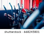 bicycle simulator  sports... | Shutterstock . vector #668245801