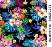 floral bloom repeat flowers... | Shutterstock . vector #668252131