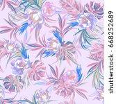 floral pattern watercolour... | Shutterstock . vector #668252689