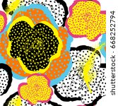 coloring flower roses dots... | Shutterstock .eps vector #668252794