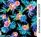 floral pattern watercolour... | Shutterstock . vector #668252959
