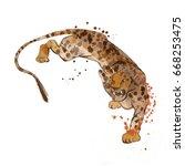 leopard. watercolor animal... | Shutterstock . vector #668253475