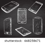 sketch different phones ... | Shutterstock .eps vector #668258671