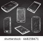 sketch different phones ...   Shutterstock .eps vector #668258671