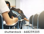 hands university student... | Shutterstock . vector #668259205