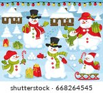 vector happy snowman family on... | Shutterstock .eps vector #668264545