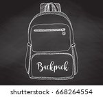 sketch of a rucksack. backpack... | Shutterstock .eps vector #668264554