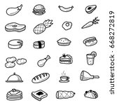 hand drawn food doodle icons | Shutterstock .eps vector #668272819