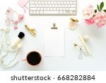 beauty blog concept. female... | Shutterstock . vector #668282884