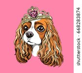 portrait of the cavalier king... | Shutterstock .eps vector #668283874